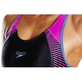 speedo Fit Laneback Strój kąpielowy Kobiety, black/diva/vita grey